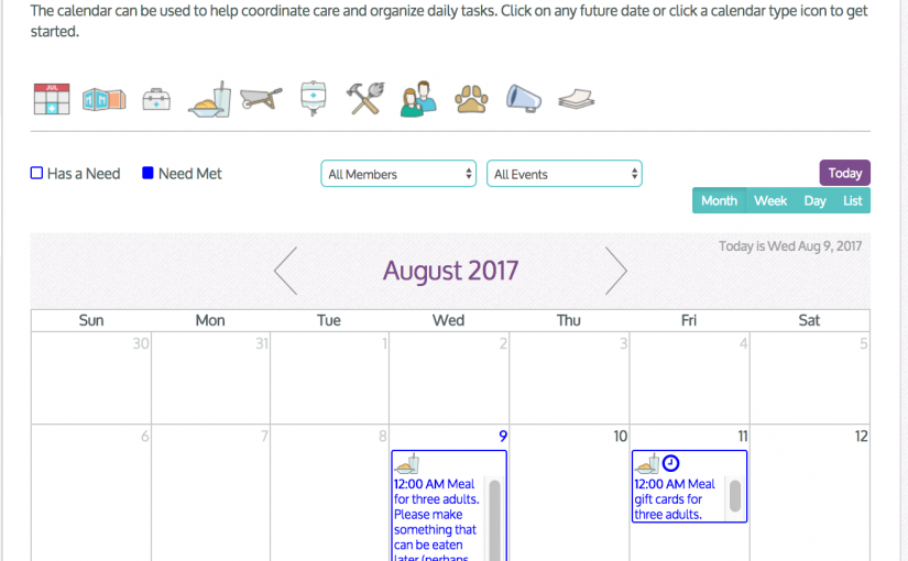 Coordinating Care Using MedGift's Support Calendar